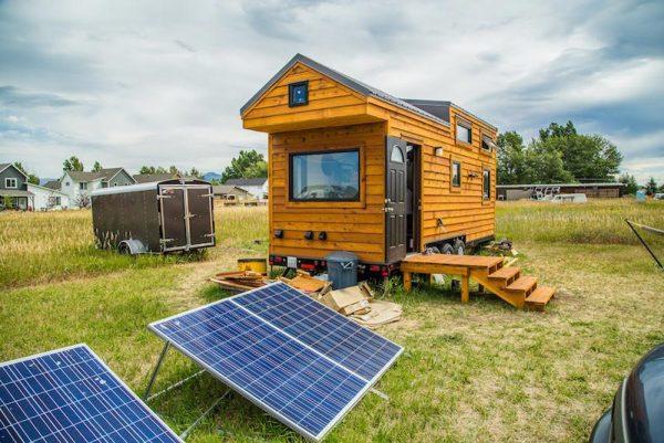 solar panels powering a tiny home